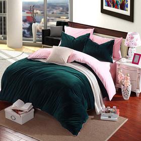 南通家纺网 床上用品 秋冬新款 欧式纯色双拼水晶超柔四件套 加厚保暖