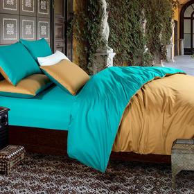 南通家纺网 床上用品 厂家直销 欧式简约全棉100支贡缎长绒棉纯色双拼四件套-土黄配翠绿