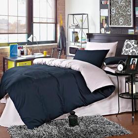 南通家纺网 床上用品 欧式全棉活性纯色四件套 藏蓝配银灰
