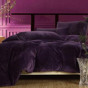 南通家纺网 床上用品 加厚保暖超柔短毛绒六件套 纯深紫 独家研发 高端品质