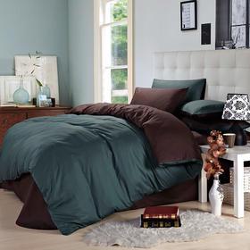 南通家纺网 床上用品 欧式全棉纯色活性四件套 宝石蓝配咖啡
