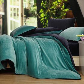 南通家纺网 床上用品 加厚保暖超柔短毛绒六件套 水绿配藏蓝 独家研发 高端品质