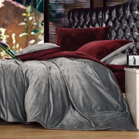 南通家纺网 床上用品 加厚保暖超柔短毛绒六件套 深灰配酒红 独家研发 高端品质