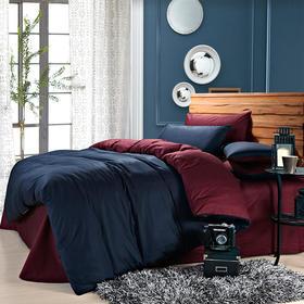 南通家纺网 床上用品 欧式全棉活性纯色四件套 藏蓝配酒红