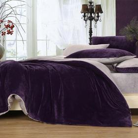 南通家纺网 床上用品 加厚保暖超柔短毛绒六件套 深紫配银灰 独家研发 高端品质