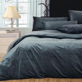 南通家纺网 床上用品 加厚保暖超柔短毛绒六件套 纯墨绿 独家研发 高端品质