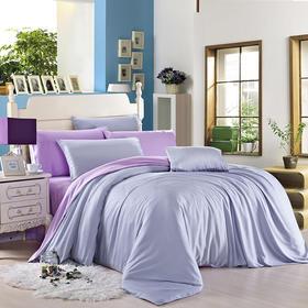 南通家纺网 床上用品 新款60S天丝四件套-淡蓝配浅紫