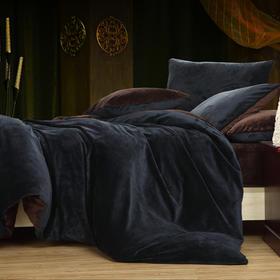 南通家纺网 床上用品 加厚保暖超柔短毛绒六件套 藏蓝配咖啡 独家研发 高端品质