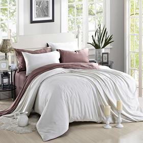 南通家纺网 床上用品 新款60S纯色天丝四件套-米灰配浅咖