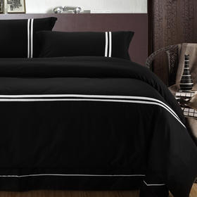 南通家纺网 床上用品 欧式全棉活性素色四件套 黑色配白条