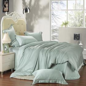 南通家纺网床上用品欧式奢华纯色天丝四件套 豆绿色 独家产品