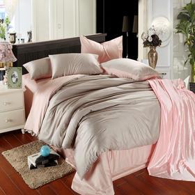 南通家纺网床上用品欧式奢华纯色天丝四件套 银灰+玉色 独家打造