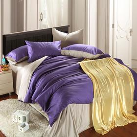 南通家纺网床上用品欧式奢华纯色天丝四件套 紫罗兰+银灰 独家打造